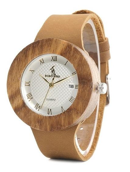 Relógio Feminino Bambu Bobo Bird Calendário Prata Wc01