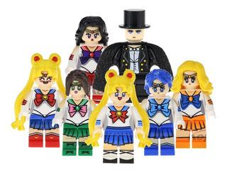 Excelente Set 7 Figuras De Sailor Moon Compatible Bloques