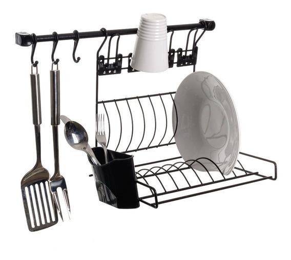 Kit Cozinha Suspensa Barra B Escorredor Prato Copo Gancho