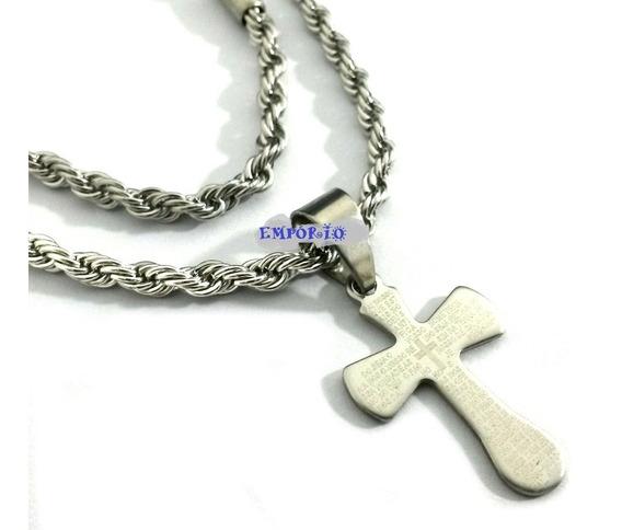 Cordão Trançado + Pingente Crucifixo Pai Nosso Ref309 V17