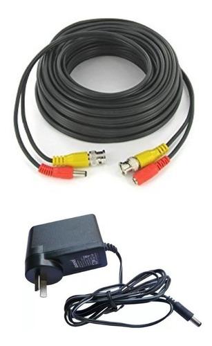 Imagen 1 de 7 de Kit Pack Cable Coaxial 18m Bnc Video Alimen + Fuente 12v 1a
