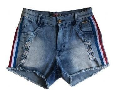 Short Jeans Feminino Rasgado Cintura Alta