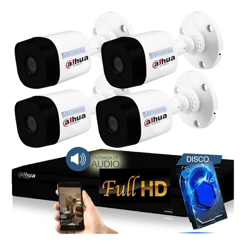 Kit Seguridad Camaras Hd 4 Dahua Dvr Full Hd Hdcvi Disco 1tb
