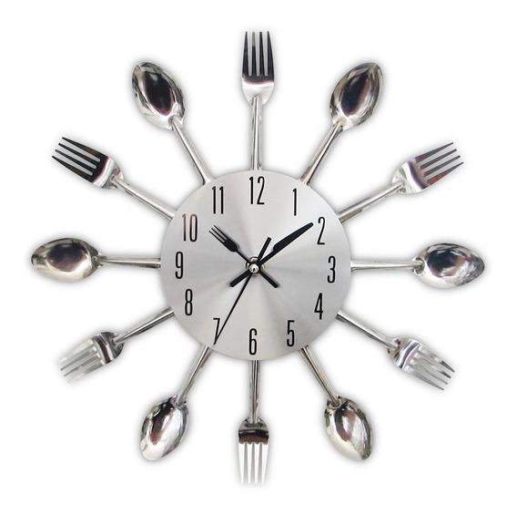 Reloj De Pared Para Cocina, Diseño De Cubiertos 3d, Plateado