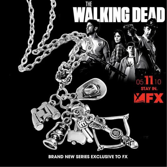 Colar The Walking Dead Cor Daryl Dixon Varios Pingentes