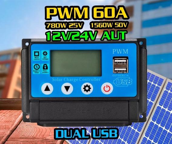 Controlador De Carga Solar Pwm 60a 12v/24v