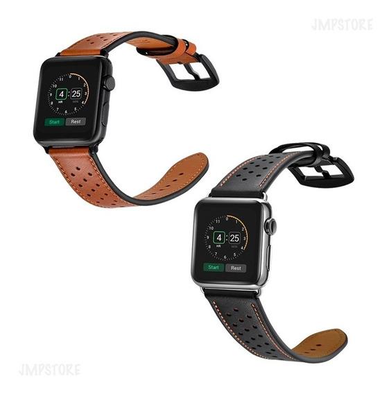 Pulseira Couro Iwatch P/ Apple Watch 42 E 44mm Preto Marrom