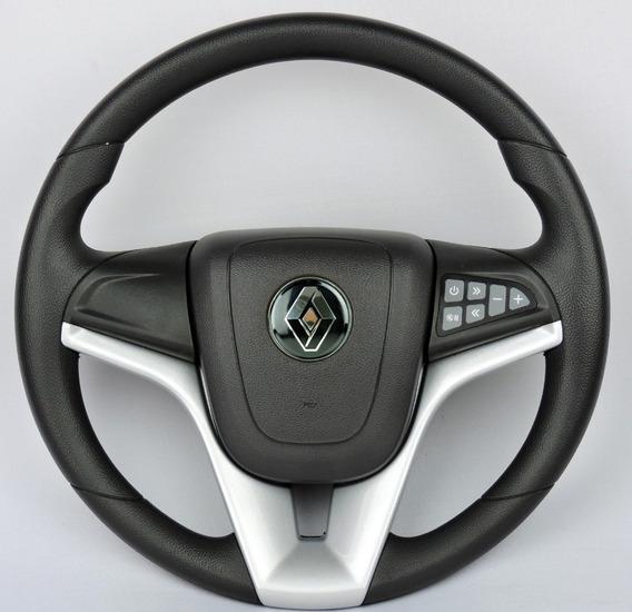 Volante Renault Comando Som Clio Logan Sandero +cubo Prata