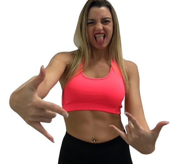 Tops P/ Entrenar Rosa Lycra Sport Gym Zumba