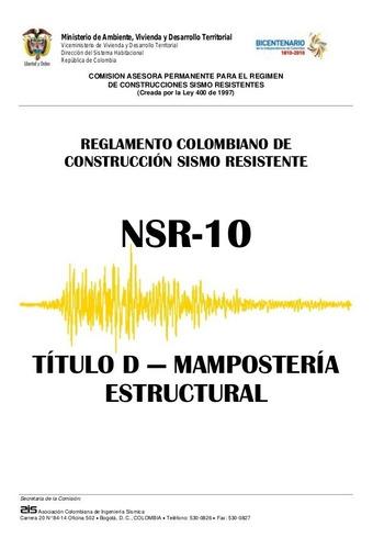 Imagen 1 de 1 de Título D De La Nsr-10 En Físico