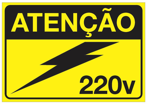 Imagem 1 de 5 de Placa Adesivo Para Painéis Elétricos Tensão 220v Nr10 Nr12