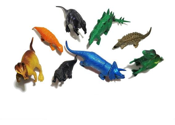 Kit 8 Dinossauros Brinquedos Dino Borracha Grande Promoção
