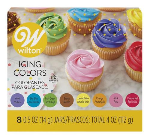 Imagen 1 de 8 de Colorante Gel X 8 Surtidos Glase Masa Cremas Wilton Titanweb