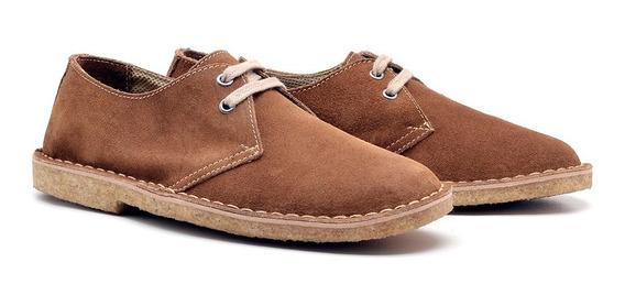 Sapato Com Solado Crepe Couro Camurça Anos 80 Assandalhado