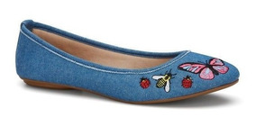 Zapato Flat Ballerina Andrea Azul Mezclilla Mariposa 2535661