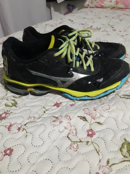 Tênis Mizuno Wave Creation 16 Preto/verde Número 40