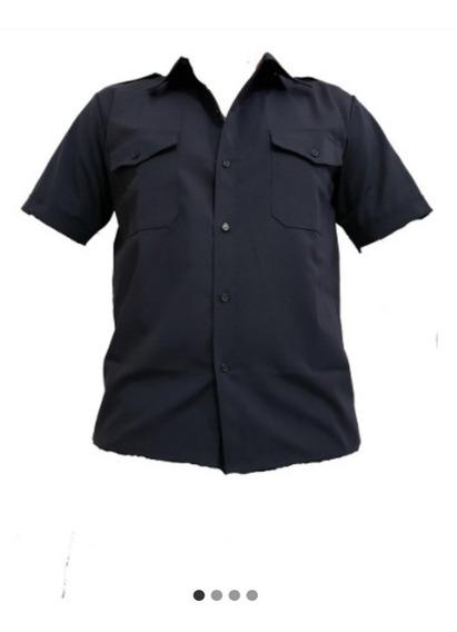 Camisa Manga Corta, Antidesgarro, Azul, Polica, Ripstop