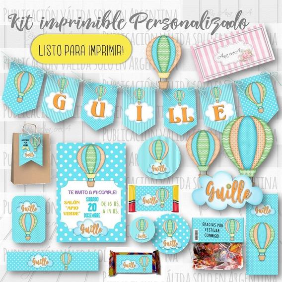 Kit Imprimible Personalizado - Globos Aerostáticos Mod. 1