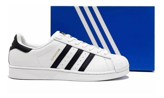 Tênis adidas Superstar Branco Listra Preta Sneakers Masculino Couro Original