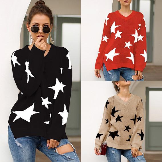 Suéter De Las Mujeres Contraste Estrella De Cinco Puntas Es