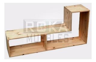 Modulo En L Rack Cubo L De Madera Pino Ref De 1.20x0.30x0.60