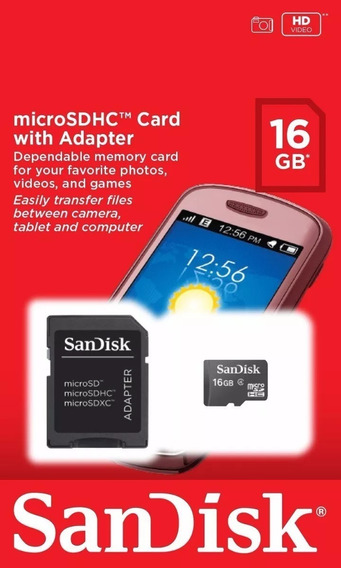 Cartão De Memória Micro Sd 16gb Com Adaptador