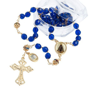 Terço Nossa Senhora Aparecida 300 Anos Azul Cristais 8mm