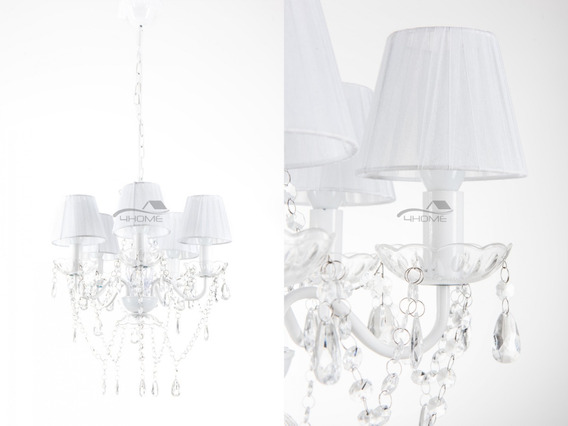 Lustre Pendente Candelabro 5 Lâmpadas Branco (148)