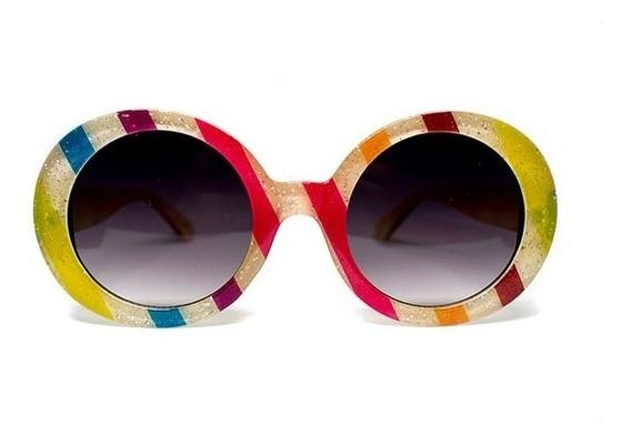 Lente De Sol De Pasta Redondo Multicolor, Glasses G3 P6475