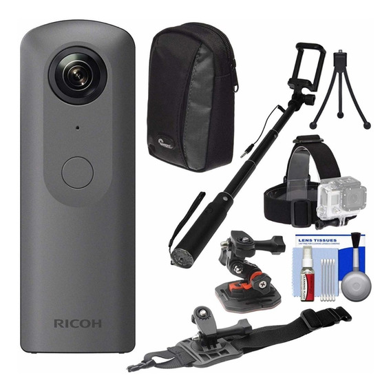 Ricoh Theta V 4k Camera Digital Esférica 360 Graus Com Kit