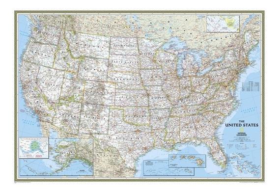 Mapa Hd Dos Eua 65x100cm Estados Unidos Usa - Decoração Sala