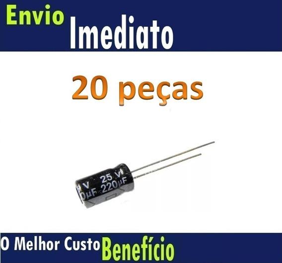 20 Pcs Capacitor Eletrolitico 220uf X 25v * 220 Uf