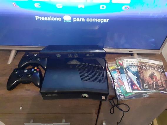 Xbox 360 Usado Desbloqueado + Controle 35 Jogos + Kinect