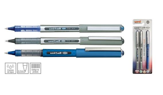 Caneta Rollerball 0.7mm Escolar Kit Com 3 Canetas Uniball