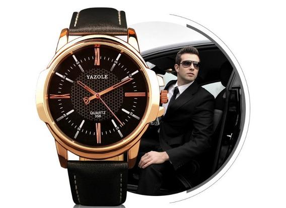 Relógio Masculino Original Luxo Esportivo Yazole Couro Quart
