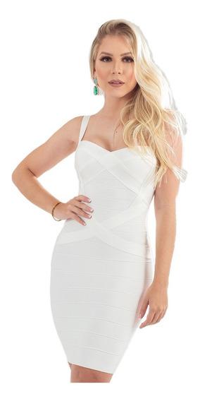 Vestido De Bandagem Curto Branco Bandage Dress