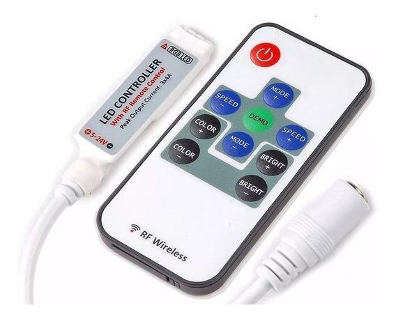 Dimmer Rgb Rf S/ Fio P/ Fita Led 5050 3528 + Controle Remoto