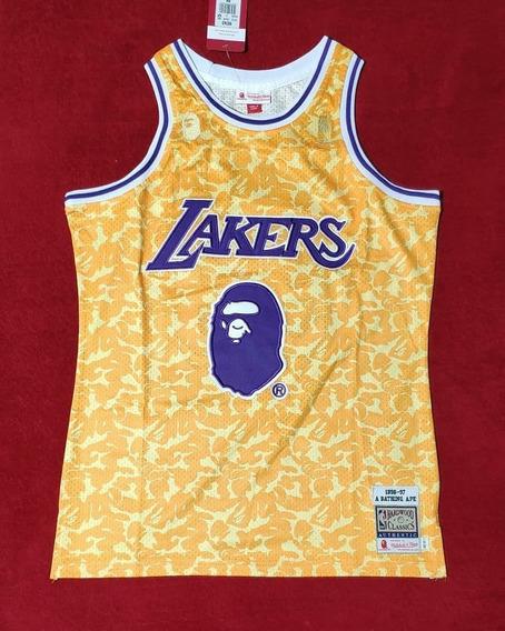Bape X Mitchell & Ness #93 La Lakers Bordado Premium - A Pedido