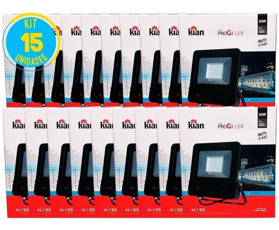 Refletor Led 50w 4000lm Bivolt Geração 3 Kian Kit 15 Unid