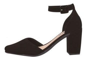 Sapato Feminino Salto Alto Grosso Scarpin Preto Chiq