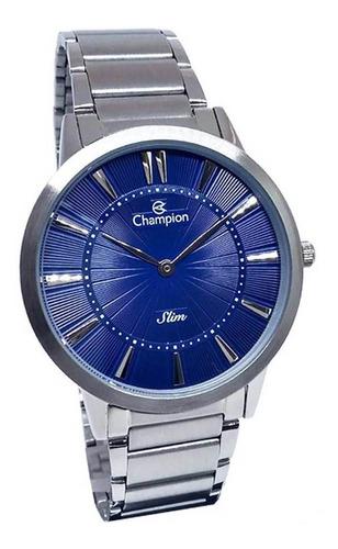 Relógio Masculino Prata Social Champion Visor Azul Slim