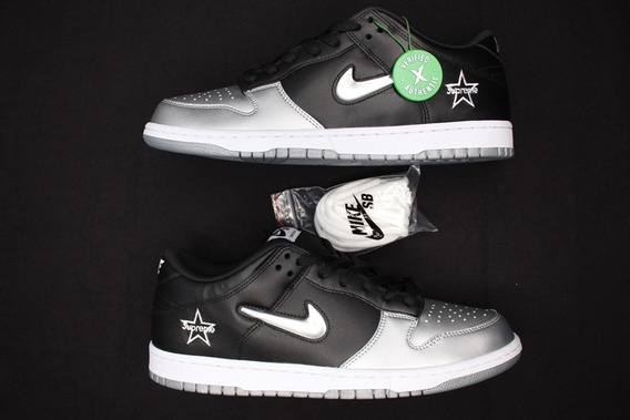 Tênis Nike Dunk Low X Supreme Silver
