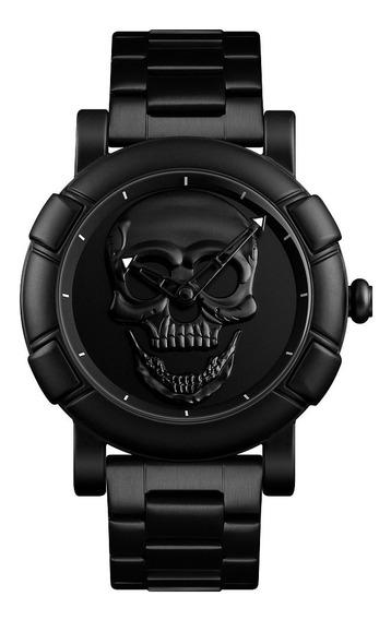 Relógio Skmei 9178 Caveira Crânio 3d Skull Esportivo Luxo