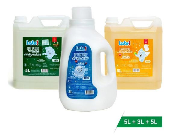 Pack Limpieza Late Hogar (detergente+lavalozas+ Líq.mult)