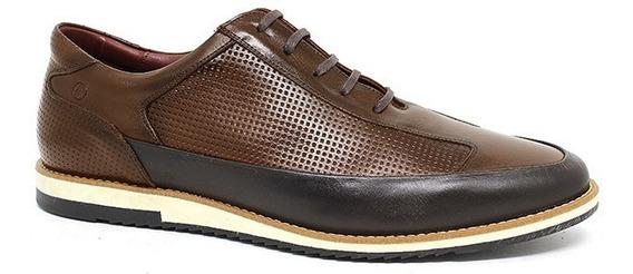 Sapato Sapatênis Casual Masculino Couro Legítimo Macio Leve