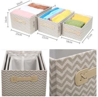 Setx3 Caja Organizador Canasto Cesta Tela Guarda Ropa Baño