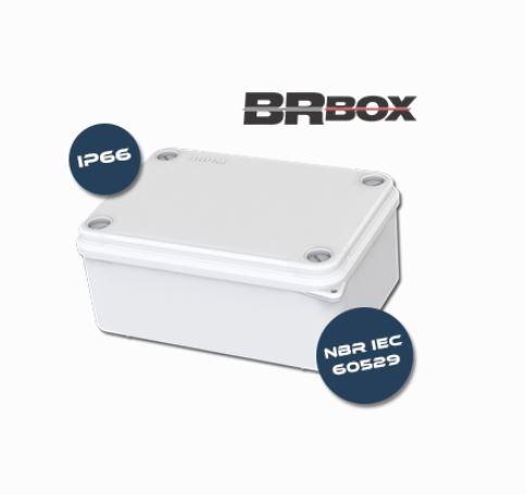 Caixa De Passagem 100x100x50 Ip66 Hermética Branca Brum