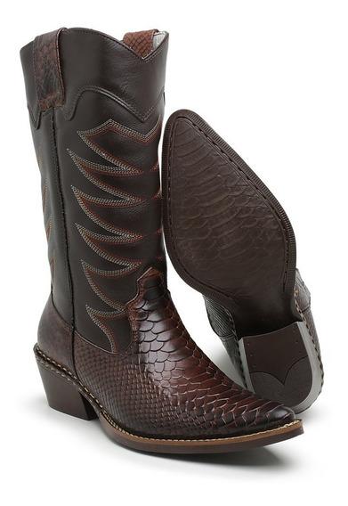 Bota Country Masculina Cano Longo Texana Rodeio Couro Rodeio