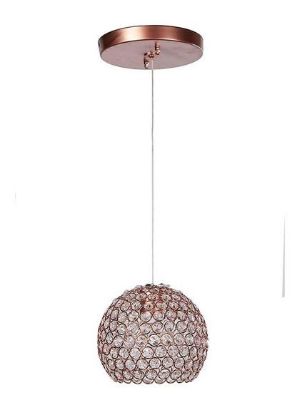 Candil 1 Lux Cristal Cortado Globos Oro Rosado M E26 Gamalux