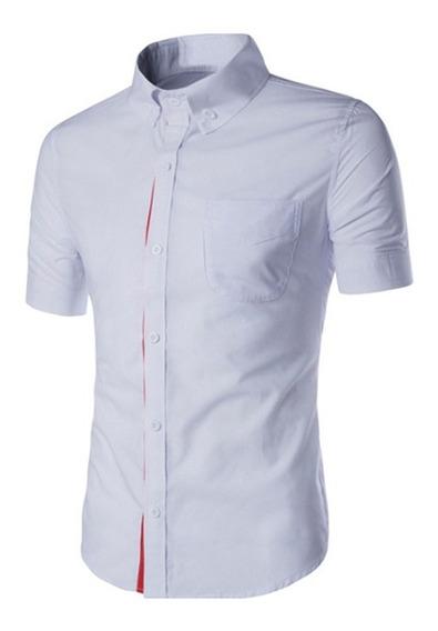 Verano Masculino Casual Camisa Manga Corta Color Sólido Top